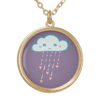 Happy Blue Rain Cloud Raining Pink Hearts Gold Plated Necklace