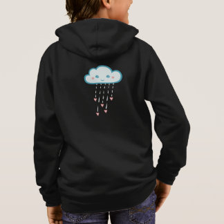 Happy Blue Rain Cloud Raining Pink Hearts Hoodie