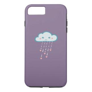 Happy Blue Rain Cloud Raining Pink Hearts iPhone 7 Plus Case