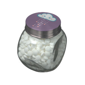 Happy Blue Rain Cloud Raining Pink Hearts Jelly Belly Candy Jars