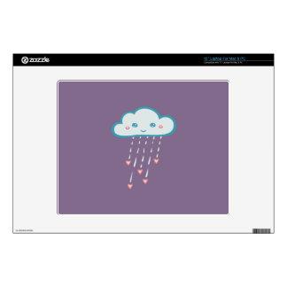 Happy Blue Rain Cloud Raining Pink Hearts Laptop Decal