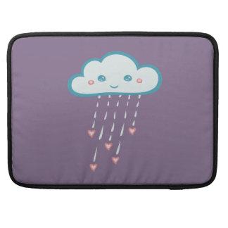 Happy Blue Rain Cloud Raining Pink Hearts MacBook Pro Sleeve
