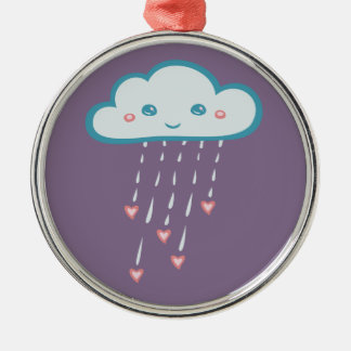 Happy Blue Rain Cloud Raining Pink Hearts Metal Ornament