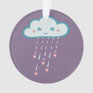 Happy Blue Rain Cloud Raining Pink Hearts Ornament