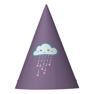 Happy Blue Rain Cloud Raining Pink Hearts Party Hat