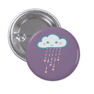 Happy Blue Rain Cloud Raining Pink Hearts Pinback Button