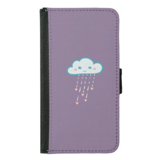 Happy Blue Rain Cloud Raining Pink Hearts Samsung Galaxy S5 Wallet Case