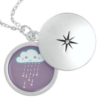 Happy Blue Rain Cloud Raining Pink Hearts Sterling Silver Necklace