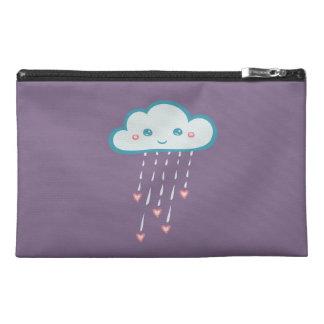 Happy Blue Rain Cloud Raining Pink Hearts Travel Accessory Bags