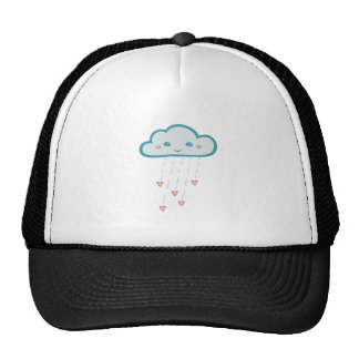 Happy Blue Rain Cloud Raining Pink Hearts Trucker Hat