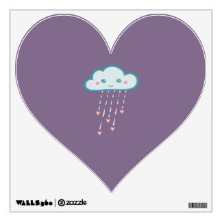 Happy Blue Rain Cloud Raining Pink Hearts Wall Decal