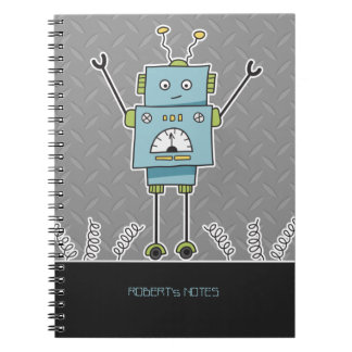 Happy Blue Robot & Springs Spiral Notebook