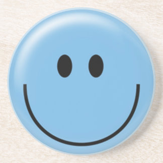 Happy blue smiley face coaster