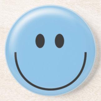 Happy blue smiley face sandstone coaster