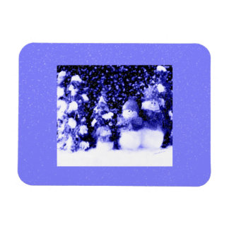 Happy Blue Snowman Family in Winter Snow Magnets