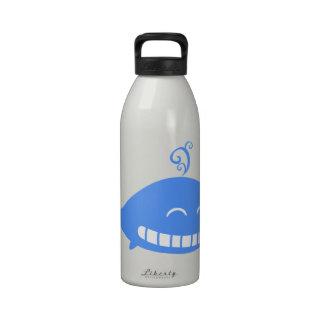 Happy blue whale animation illustration drinking bottle