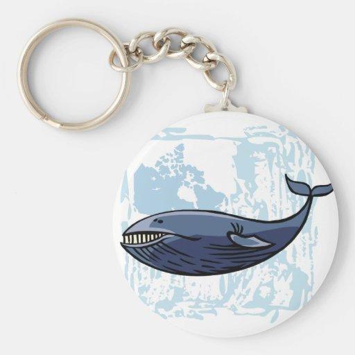 Happy Blue Whale Basic Round Button Keychain