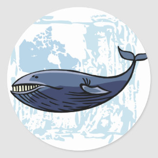 Happy Blue Whale Classic Round Sticker