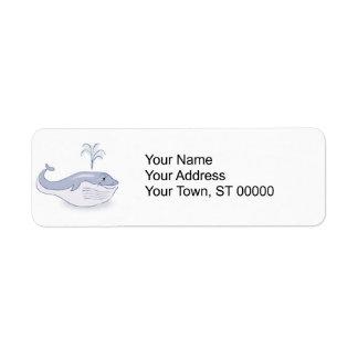 happy blue whale label