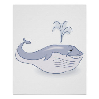 happy blue whale poster