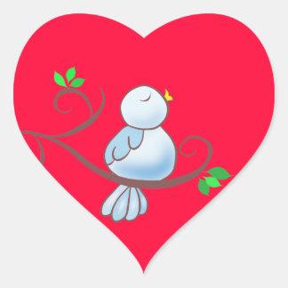 Happy Bluebird Heart Sticker