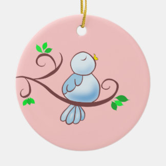 Happy Bluebird Double-Sided Ceramic Round Christmas Ornament