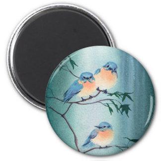 HAPPY BLUEBIRDS by SHARON SHARPE 2 Inch Round Magnet
