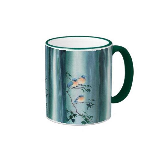 HAPPY BLUEBIRDS by SHARON SHARPE Ringer Coffee Mug