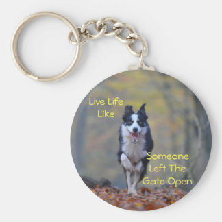 Happy Border Collie dog running and playing Basic Round Button Keychain