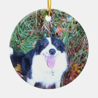Happy Border Collie Double-Sided Ceramic Round Christmas Ornament