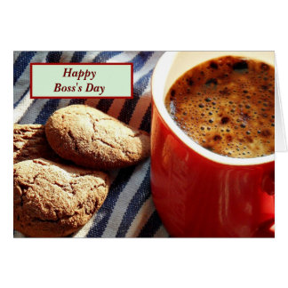Happy Boss s Day with coffee and cookies Card