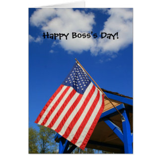 Happy Boss's Day American Flag greeting card