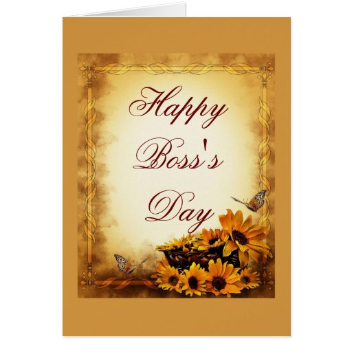 Happy Boss's Day for boss with sunflowers Cards