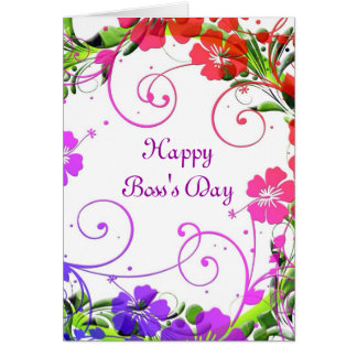 Happy Boss's Day for female boss with custom text Greeting Cards
