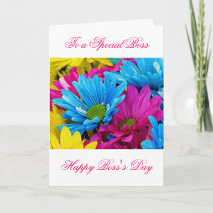 Female boss cards zazzle happy bosss day for female boss with flowers card m4hsunfo