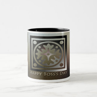 Happy Boss's Day Golden Classic Design Two-Tone Coffee Mug