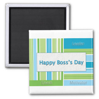 Happy Boss's Day Stripes 2 Inch Square Magnet