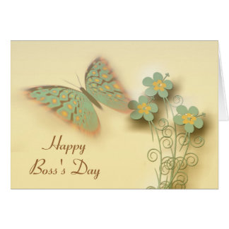 Happy Boss's Day with butterfly and flowers Card