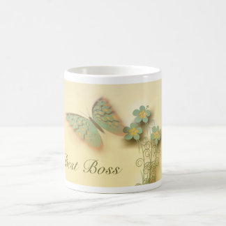 Happy Boss's Day with butterfly and flowers Coffee Mug