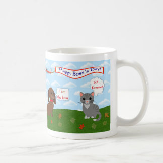Happy Boss's Day with cat, dog and airplane banner Coffee Mug
