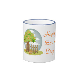 Happy Boss's Day with fruit tree custom text Ringer Coffee Mug