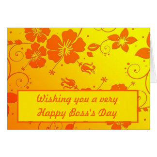 Happy Boss's Day with hibiscus flowers Card