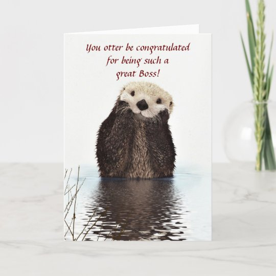 Happy Boss's Day with otter funny Boss's day Card | Zazzle.com