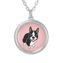 Happy Boston Terrier Blush Pink Necklace