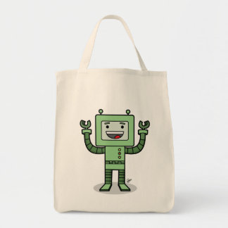 Happy Bot - Grocery Tote Canvas Bags