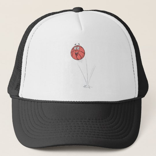 happy bouncing basketball trucker hat
