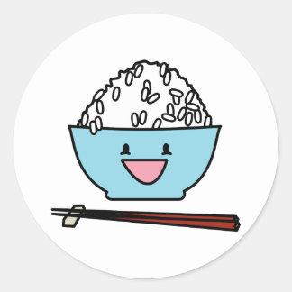 Happy bowl of white rice chopsticks carbs classic round sticker