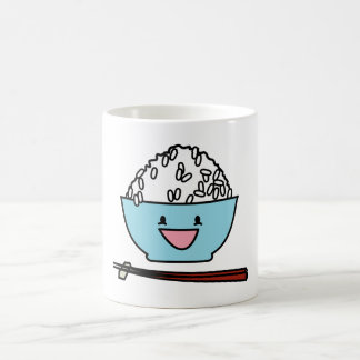 Happy bowl of white rice chopsticks carbs coffee mug
