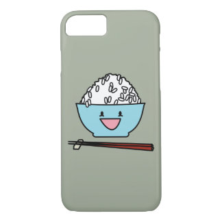 Happy bowl of white rice chopsticks carbs iPhone 8/7 case
