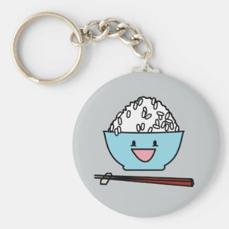 Happy bowl of white rice chopsticks carbs keychain